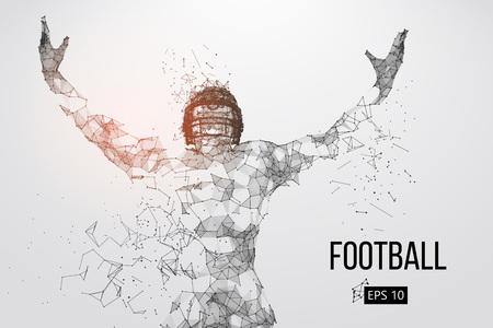 Silhouette di un giocatore di football. Punti, linee, triangoli, testo, effetti colore e sfondo su livelli separati, il colore può essere modificato in un clic. Illustrazione vettoriale Archivio Fotografico - 93833300