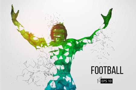 Silhueta de um jogador de futebol. Pontos, linhas, triângulos, texto, efeitos de cor e fundo em camadas separadas, cor pode ser mudada em um clique. Ilustração vetorial Foto de archivo - 93833490