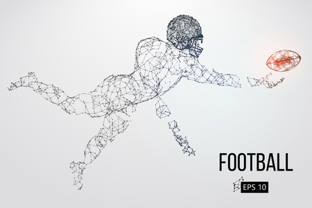 Silhouette of a football player. Dots, lines, triangles, text, color effects and background on a separate layers, color can be changed in one click. Vector illustration Stock Vector - 93833369