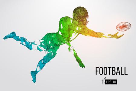 Silhouette di un giocatore di football. Punti, linee, triangoli, testo, effetti colore e sfondo su livelli separati, il colore può essere modificato in un clic. Illustrazione vettoriale Archivio Fotografico - 93833405