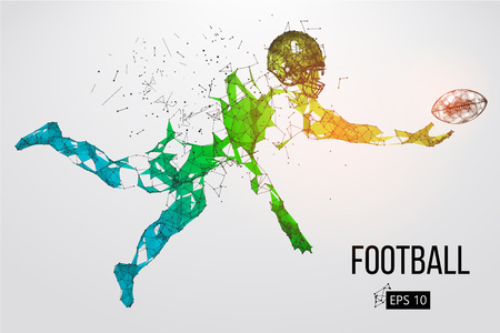 Silhouette of a football player. Dots, lines, triangles, text, color effects and background on a separate layers. Color can be changed in one click. Vector illustration.  イラスト・ベクター素材