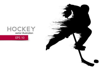 silhouette of a hockey player. Background and text on a separate layer, color can be changed in one click.