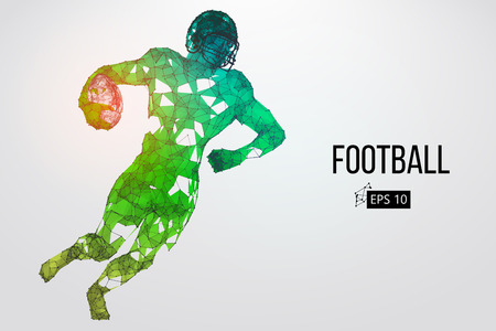Silhouette of a football player. Dots, lines, triangles, text, color effects and background on a separate layers.