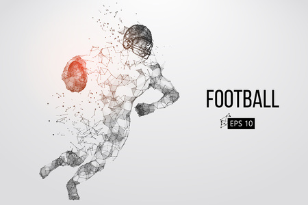 Silhouette of a football player. Dots, lines, triangles, text, color effects and background on a separate layers, color can be changed in one click. Vector illustration Stock Vector - 95031540
