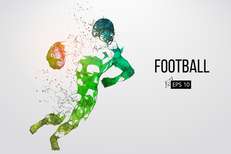 Silhouette of a football player. Dots, lines, triangles, text, color effects and background on a separate layers, color can be changed in one click. Vector illustration Stock Vector - 95032055