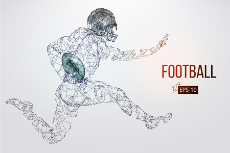 Silhouette of a football player. Dots, lines, triangles, text, color effects and background on a separate layers, color can be changed in one click. Vector illustration Stock Vector - 95032053