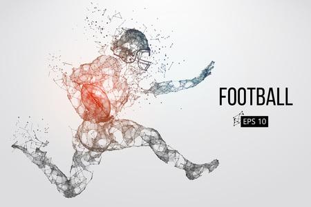 Silhouette eines Fußballspielers. Punkte, Linien, Dreiecke, Text, Farbeffekte und Hintergrund auf separaten Ebenen, Farbe kann mit einem Klick geändert werden. Vektor-illustration