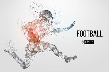 Silhouette of a football player. Dots, lines, triangles, text, color effects and background on a separate layers, color can be changed in one click. Vector illustration Foto de archivo - 95032319