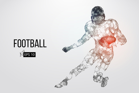 Silhouette of a football player. Dots, lines, triangles, text, color effects and background on a separate layers, color can be changed in one click. Vector illustration Stock Vector - 95032323