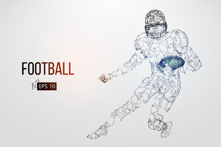 Silhouette of a football player. Dots, lines, triangles, text, color effects and background on a separate layers, color can be changed in one click. Vector illustration Stock Vector - 95032935