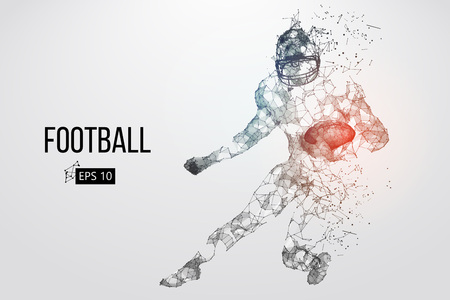 Silhouette of a football player. Dots, lines, triangles, text, color effects and background on a separate layers, color can be changed in one click. Vector illustration Stock Vector - 95032778