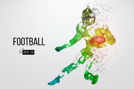 Silueta de un jugador de fútbol Puntos, líneas, triángulos, texto, efectos de color y fondo en capas separadas, el color se puede cambiar con un solo clic. Ilustración vectorial Ilustración de vector