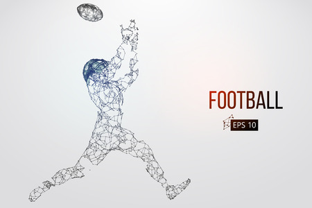 Silhouette of a football player. Dots, lines, triangles, text, color effects and background on a separate layers, color can be changed in one click. Vector illustration Stock Vector - 95033170