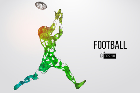 Silhouette of a football player. Dots, lines, triangles, text, color effects and background on a separate layers, color can be changed in one click. Vector illustration Stock Vector - 95033172