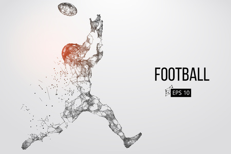 Silhouette of a football player. Dots, lines, text, color effects and background on a separate layers, color can be changed in one click. Vector illustration Illustration
