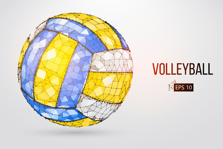 Silhouette of a volleyball ball with Dots, lines, triangles, text, color effects and background on a separate layers. Illustration