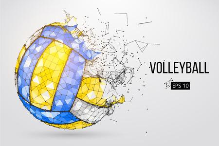 Schattenbild einer Volleyballkugel. Punkte, Linien, Dreiecke, Text, Farbeffekte und Hintergrund auf separaten Ebenen, Farbe kann mit einem Klick geändert werden. Vektor-illustration Standard-Bild - 95374143