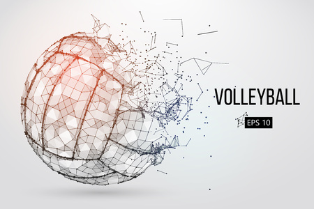 Silhouette of a volleyball ball. Dots, lines, triangles, text, color effects and background on a separate layers, color can be changed in one click. Vector illustration. Zdjęcie Seryjne - 95386071