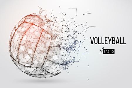 Silueta de una pelota de voleibol. Puntos, líneas, triángulos, texto, efectos de color y fondo en capas separadas, el color se puede cambiar con un solo clic. Ilustración vectorial Ilustración de vector