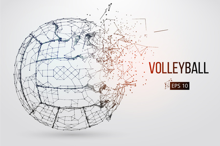Silhouette of a volleyball ball. Dots, lines, triangles, text, color effects and background on a separate layers, color can be changed in one click. Vector illustration. Stock fotó - 95369319