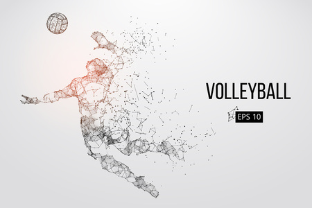 Silhouette of volleyball player. Vector illustration. Stockfoto - 98786527