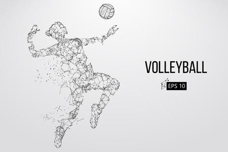 バレーボール選手のシルエット。ベクターの図。  イラスト・ベクター素材