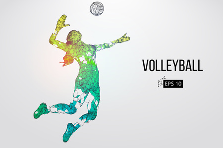 Silhouette of volleyball player. Vector illustration. Banque d'images - 98943542