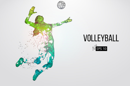 Silhouette of volleyball player. Vector illustration.