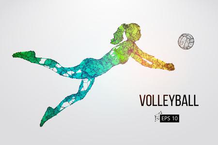 Silueta de jugador de voleibol. Ilustración vectorial Foto de archivo - 98943544