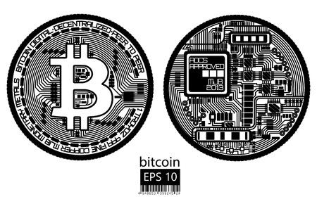 ビットコイン、物理的なビットコインベクトルのイラスト。