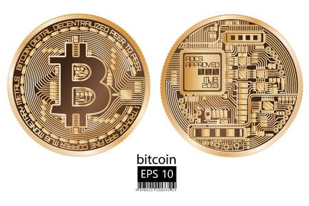 Fizyczna ilustracja wektorowa bitcoin.