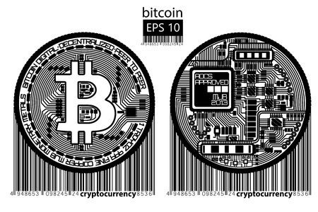 Bitcoin. Physical bit coin. Vector illustration.
