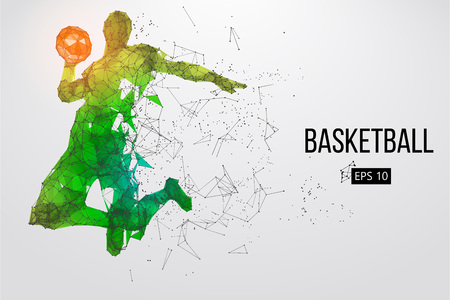 Silhouette of a basketball player. Dots, lines, triangles, color effects and background on a separate layers, color can be changed in one click. Vector illustration Stock Illustratie