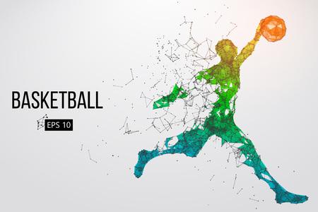 Silhouette di un giocatore di basket. Illustrazione vettoriale Vettoriali
