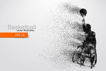 Giocatore di basket disabilitato. Testo su un livello separato, il colore può essere modificato con un clic. Illustrazione vettoriale