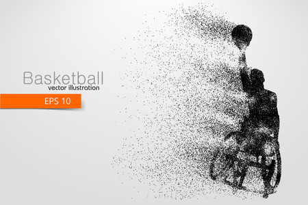 Jugador de baloncesto discapacitado. Texto en una capa separada, el color se puede cambiar con un clic. Ilustración vectorial