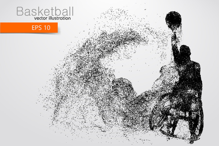 Basketball player disabled. Text on a separate layer, color can be changed in one click. Vector illustration
