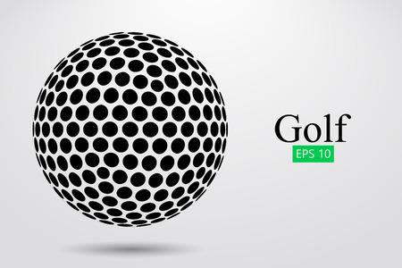 Sagoma di una pallina da golf. Illustrazione vettoriale Vettoriali