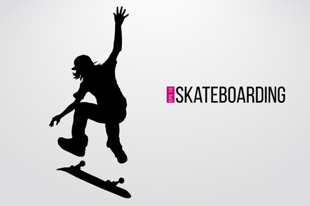 Silhouette of a skateboarder. Background and text on a separate layer, color can be changed in one click. Vector illustration Vectores