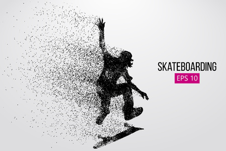 Silhouette of a skateboarder. Vector illustration Çizim