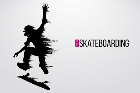 Silhouet van een skateboarder. Achtergrond en tekst op een aparte laag, kleur kan met één klik worden gewijzigd. Vector illustratie