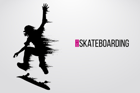 Silhouette of a skateboarder. Background and text on a separate layer, color can be changed in one click. Vector illustration Ilustração