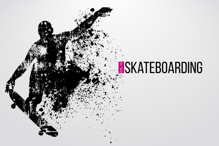 Silhouette of a skateboarder. Background and text on a separate layer, color can be changed in one click. Vector illustration Banque d'images - 112223887