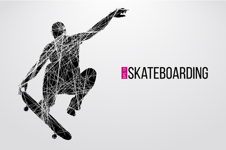 Silhouette of a skateboarder. Background and text on a separate layer, color can be changed in one click. Vector illustration Vektorové ilustrace