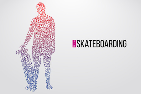 Silhouette of a skateboarder. Background and text on a separate layer, color can be changed in one click. Vector illustration  イラスト・ベクター素材