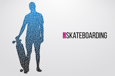 Silhouette of a skateboarder. Background and text on a separate layer, color can be changed in one click. Vector illustration Illustration