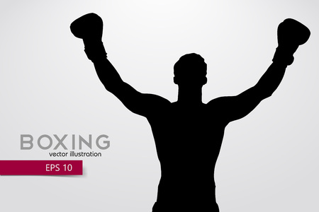 Boxing silhouette. Boxing. Vector illustration Çizim