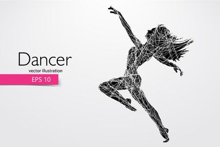 Silhouette di una ragazza che balla. Sfondo e testo su un livello separato, il colore può essere modificato con un clic. Illustrazione vettoriale Vettoriali