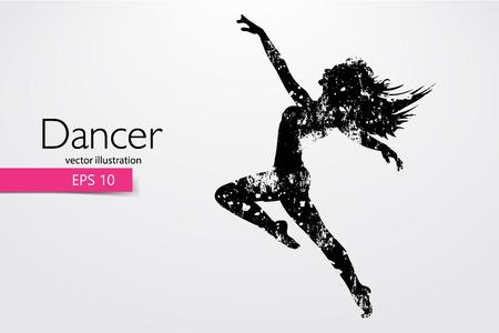 Silhouette di una ragazza che balla. Sfondo e testo su un livello separato, il colore può essere modificato con un clic. Illustrazione vettoriale