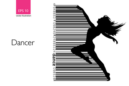 Silhouette of a dancing girl. Background and text on a separate layer, color can be changed in one click. Vector illustration Illustration